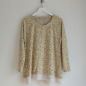 LOGO Lori Goldstein Animal Print Shirttail Sweater